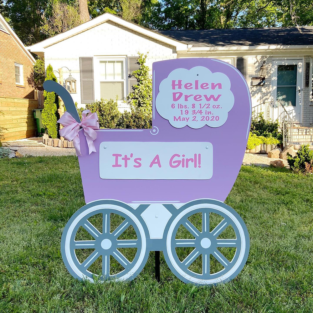 Girl Carriage Yard Sign Rental in Belmont, NC ~ Magnolia Storks
