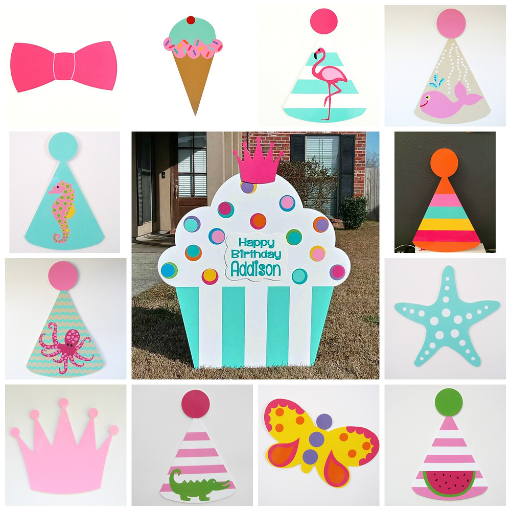 Mint Julep Cupcake Yard Sign & Interchangeable Toppers from Baton Rouge Stork and Birthday Signs