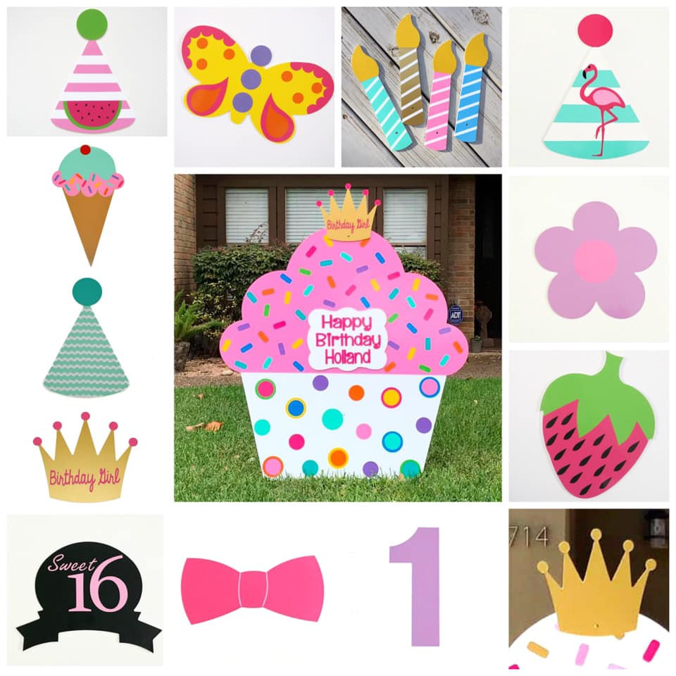 Bubblegum Pink Classic Cupcake Yard Sign & Interchangeable Toppers from Baton Rouge Stork and Birthday Signs