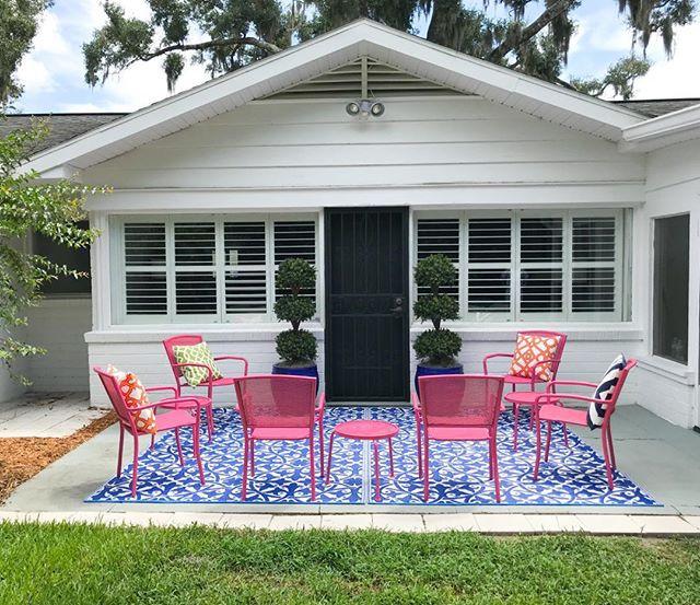 Patio seating at Flamingo Bungalow DeLand FL