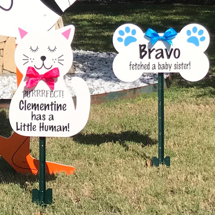 Dog Bone & Cat Signs from Baton Rouge Stork and Birthday Signs