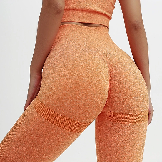 Orange Seamless High Waisted Pants