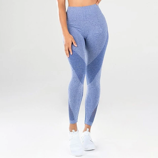 Blue High Waist Tights With Lace