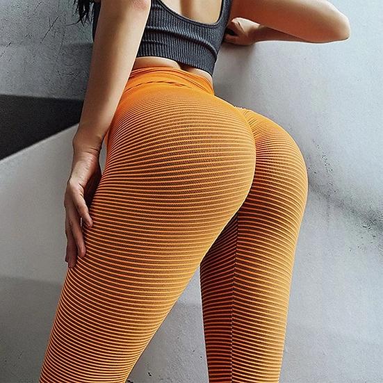 Striped Pattern Push Up Leggings