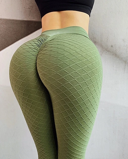 Green Wavy Pattern Leggings
