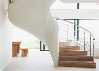 White wooden spiral staircase