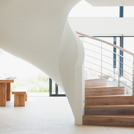 Wooden and white stairs