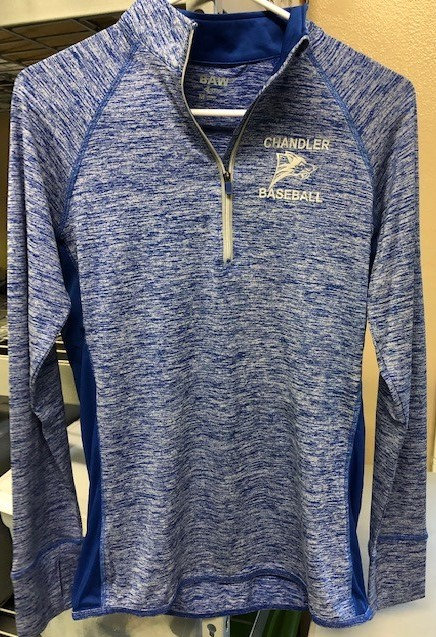 Quarter Zip, Blue Dry Fit Pul-Over with Logo
