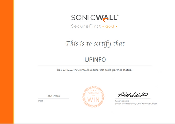 Certification UPINFO Sonicwall Gold