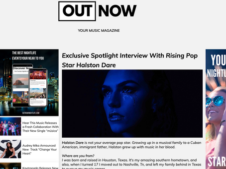 OUT NOW MAGAZINE'S SPOTLIGHT: Exclusive Spotlight Interview With Rising Pop Star Halston Dare