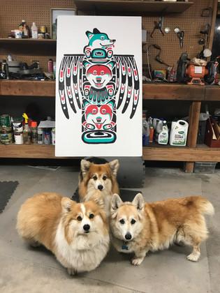 Corgis with totem