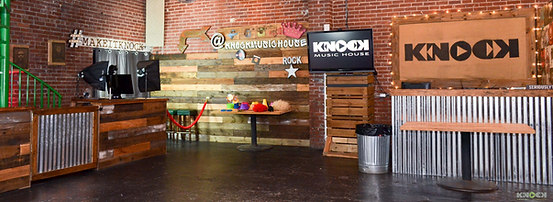 Our event space main floor with the photo booth in the background