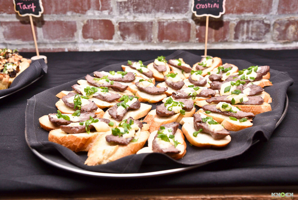 Beef crostini catering platter - bat mitzvah party
