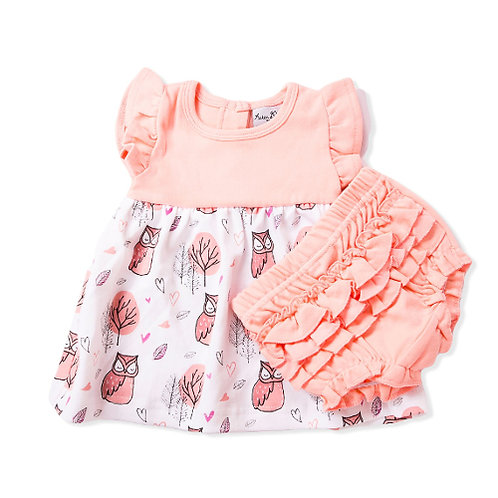 LITTLE OWL - Butterlfy Sleeve Dress & Bloomers