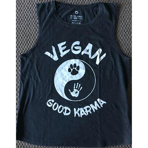 VEGAN KARMA - Ladies Muscle Tee (Dark Grey)