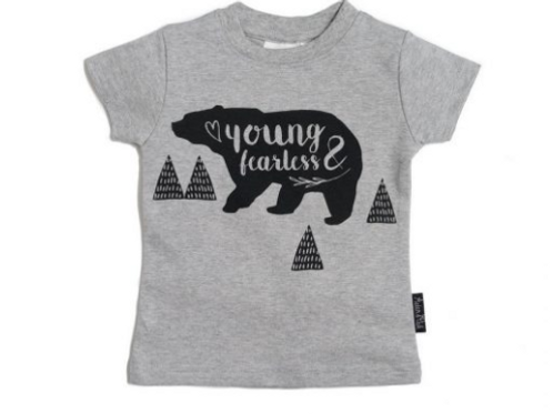YOUNG & FEARLESS -  GRAY Tee Organic Cotton