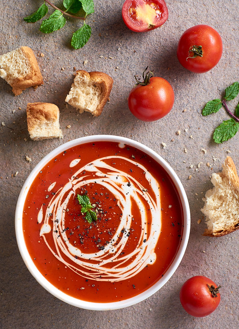 Tomato Soup with ingredients laid out