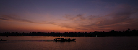 Boat floating through backwaters of kerala at sunset