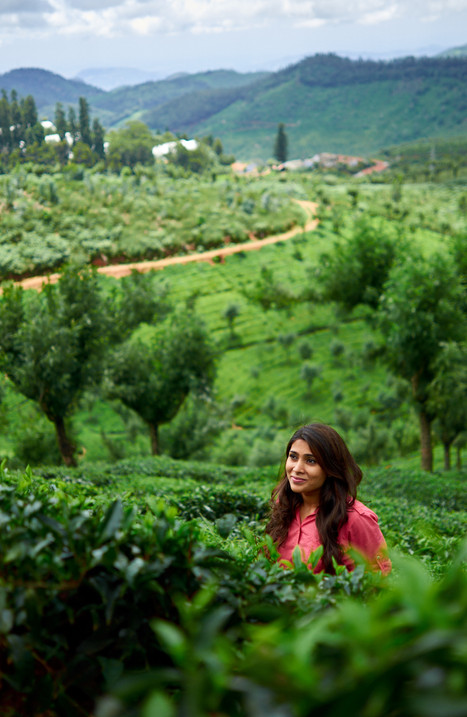 Pretty young girl photographed in tea plantation in scenic hill station.