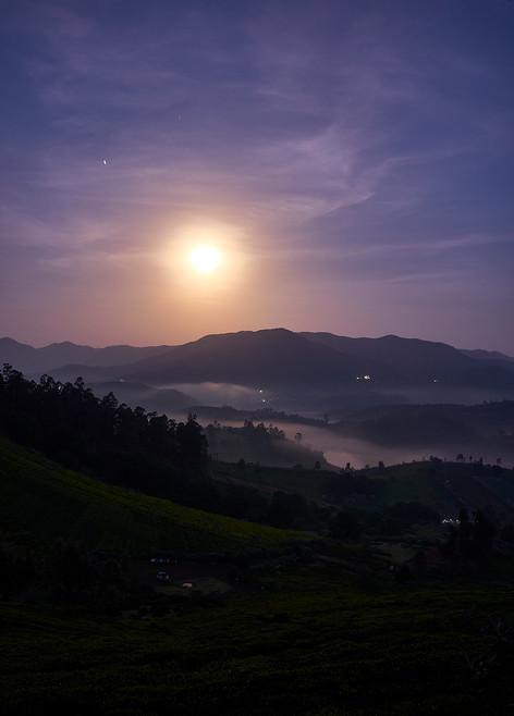 Valley lit by moonlight in nilgiris