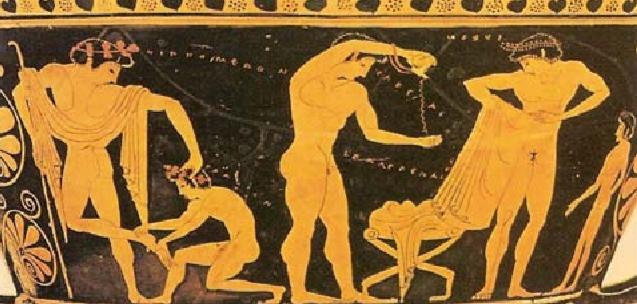 Greek athletes preparing for the Arena