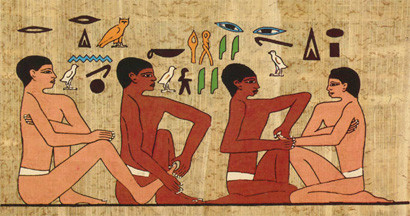 """The Tomb of Akmanthor (also known as """"The Tomb of the Physician"""") in Saqqara, Egypt, depicts two men having work done on their feet and hands, possibly massage."""