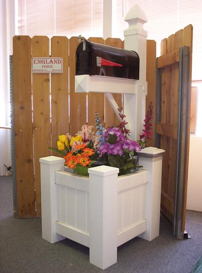 Vinyl Mail Box Post with Flower Box