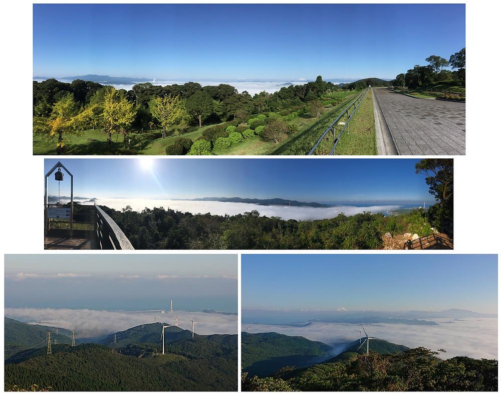 上段:せんだい宇宙館前から、中段:月屋山から、下段:柳山から