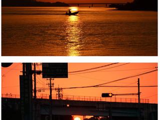 梅雨入り前の夕陽
