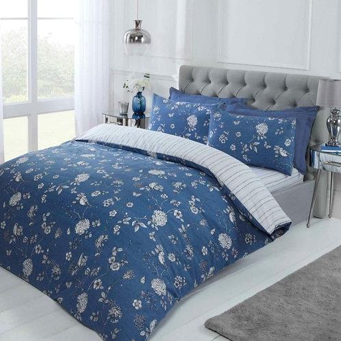 Toile Floral Stripe Reversible Blue Duvet Cover Set