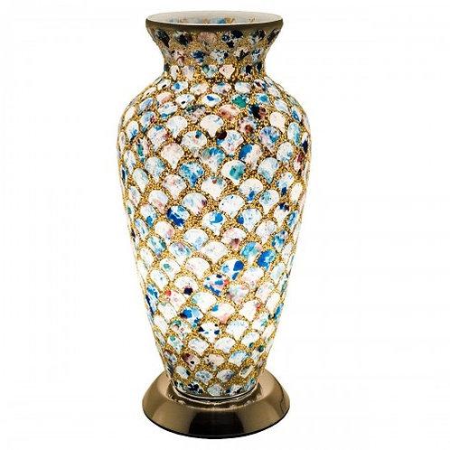Blue Tile Mosaic Glass Vintage Vase Table Lamp 38cm