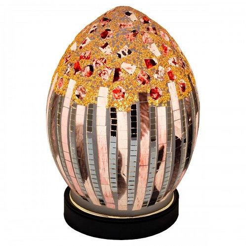 Art Deco Mosaic Glass Vintage Egg Table Lamp 20cm