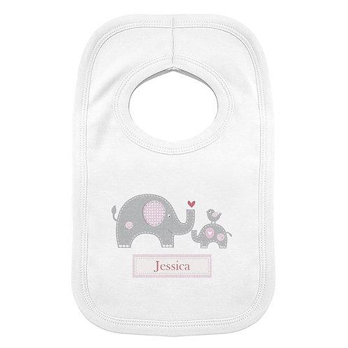Personalised Pink Elephant 0-3 Months Baby Bib