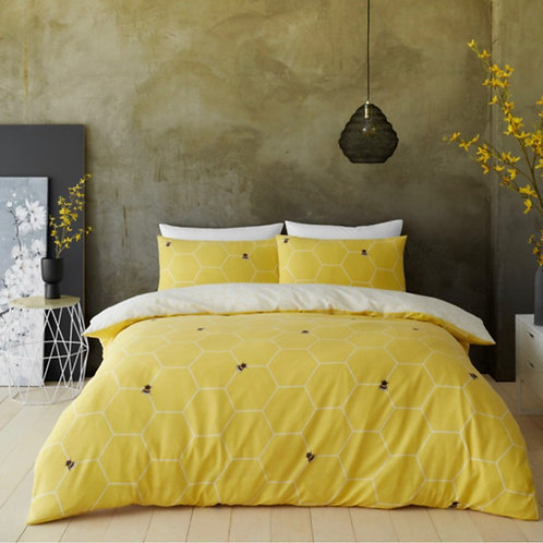 Bee Happy Duvet Quilt Cover Printed Bedding Set Pillow Cases