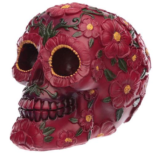 Fantasy Day of the Dead Pink Flower Skull