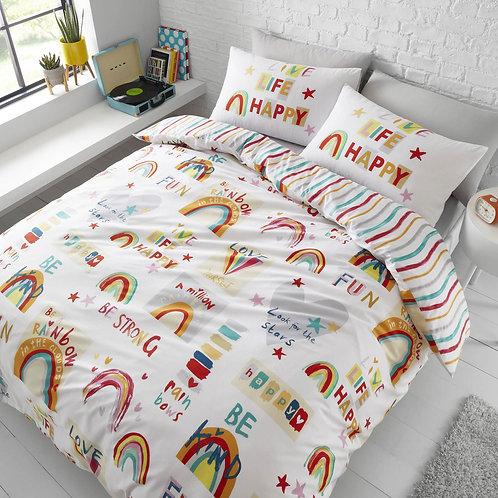 Be a Rainbow Stripe Reversible Multi Duvet Cover Set