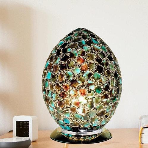 Dark Green Tile Mosaic Glass Vintage Egg Table Lamp 30cm