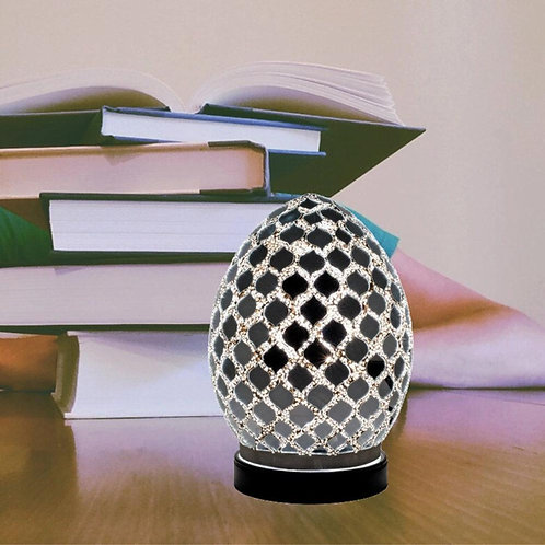 Mirrored Tile Mosaic Glass Vintage Egg Table Lamp 20cm