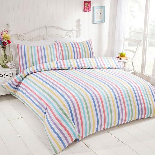 Candy Stripe 100% Brushed Cotton Flannelette Multi Duvet Cover Set