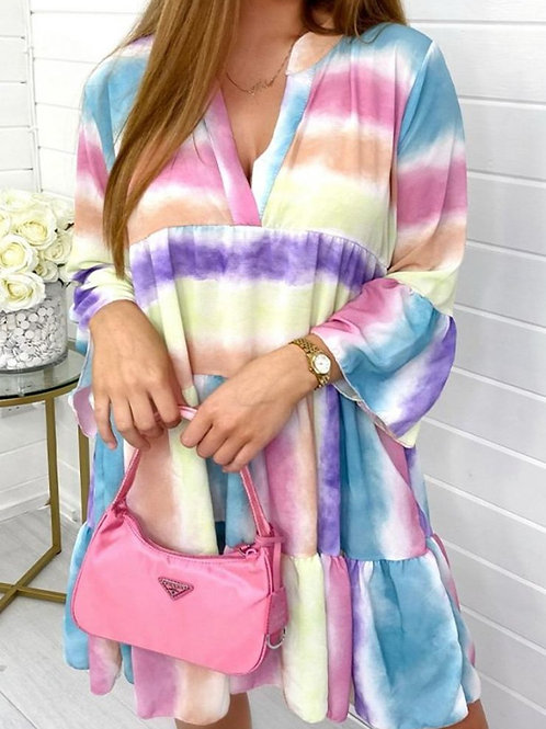 Multi Colour V Neck Dress