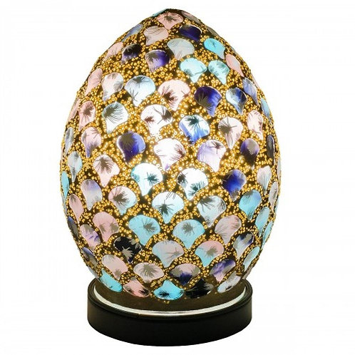 Blue & Pink Tile Mosaic Glass Vintage Egg Table Lamp 20cm