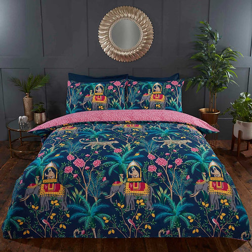 Jungle Expedition Tropical Animals Navy Duvet Cover Set