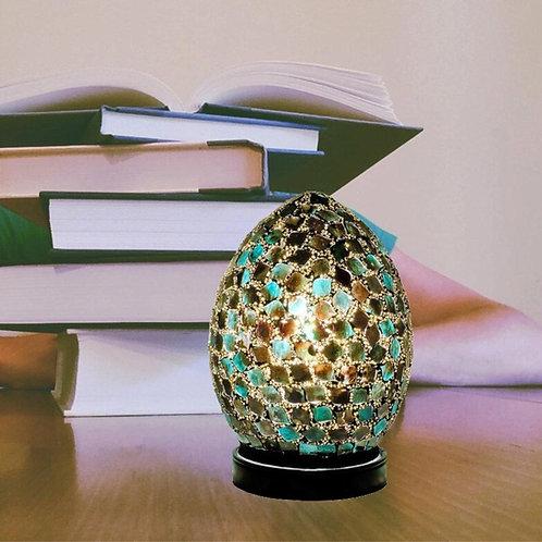 Dark Green Tile Mosaic Glass Vintage Egg Table Lamp 20cm