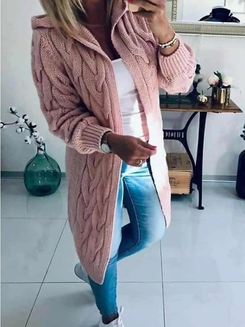 Chunky Cable Knitted Oversized Hooded Cardigan