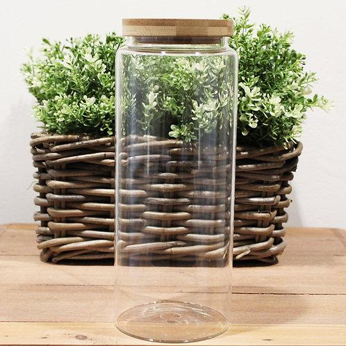 Cottage Bamboo Glass Jar - 25cm