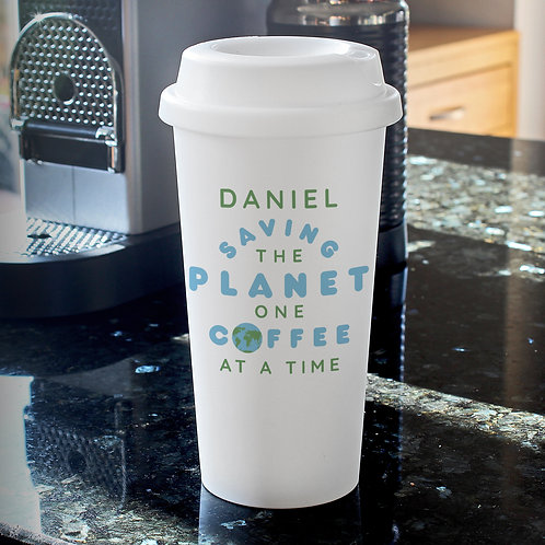 Personalised 'Saving the Planet' Insulated Eco Travel Cup