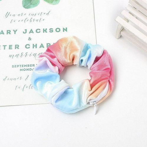 Velvet Zip Hidden Pocket Tie Dye Scrunchie