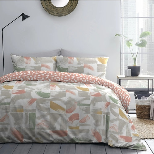 Abstract Print Reversible Coral Duvet Cover Set