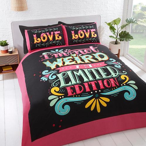 Limited Edition Slogan Print Multicolour Duvet Cover Set