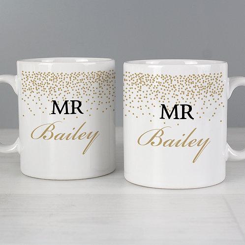 Personalised Gold Confetti Mug Set
